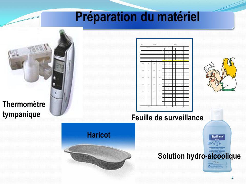 4 Préparation du matériel Thermomètre tympanique Haricot Feuille de surveillance Solution hydro-alcoolique