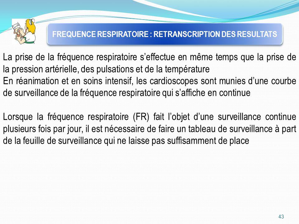 43 FREQUENCE RESPIRATOIRE : RETRANSCRIPTION DES RESULTATS La prise de la fréquence respiratoire s'effectue en même temps que la prise de la pression a