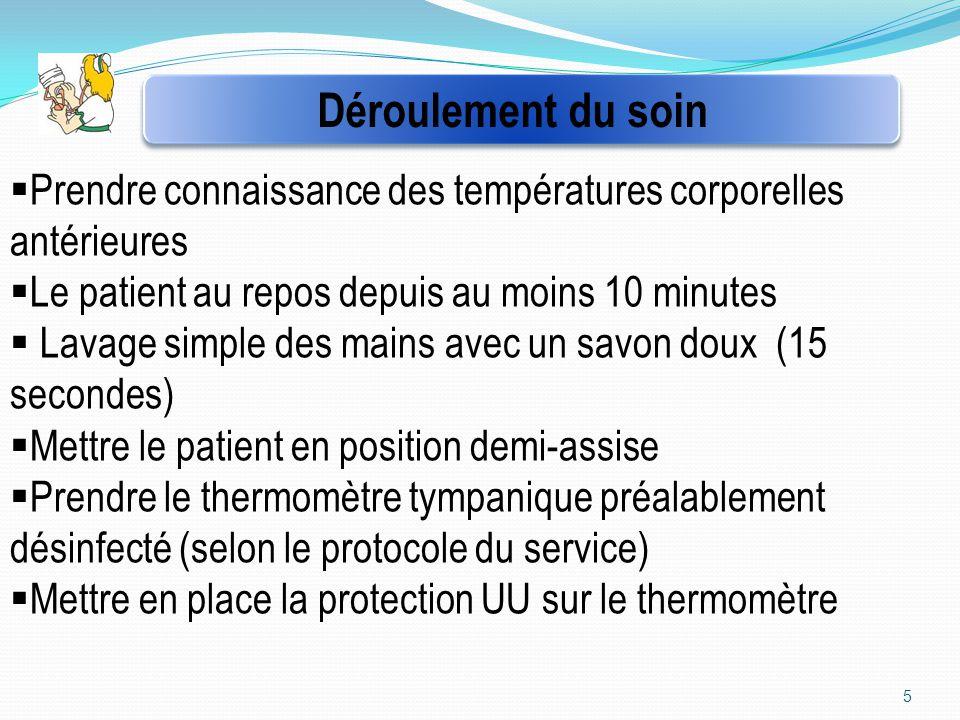 5  Prendre connaissance des températures corporelles antérieures  Le patient au repos depuis au moins 10 minutes  Lavage simple des mains avec un s