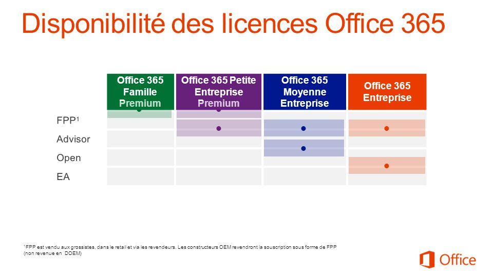 Office 365 Famille Premium Office 365 Petite Entreprise Premium Office 365 Moyenne Entreprise Office 365 Entreprise 1 FPP est vendu aux grossistes, dans le retail et via les revendeurs.