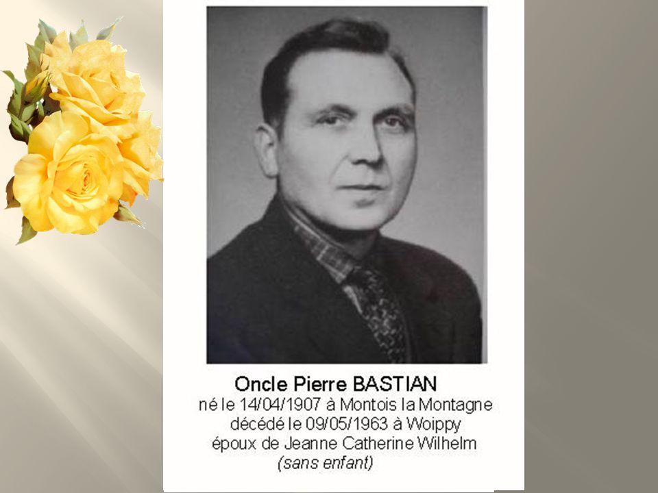 Jeanne BASTIAN Née WILHELM le 19/01/1910 à Saint-Avold 57 décédée le 25/09/2005 à Woippy, Fille de Georges Joseph Wilhelm et de Joséphine Alexandrine