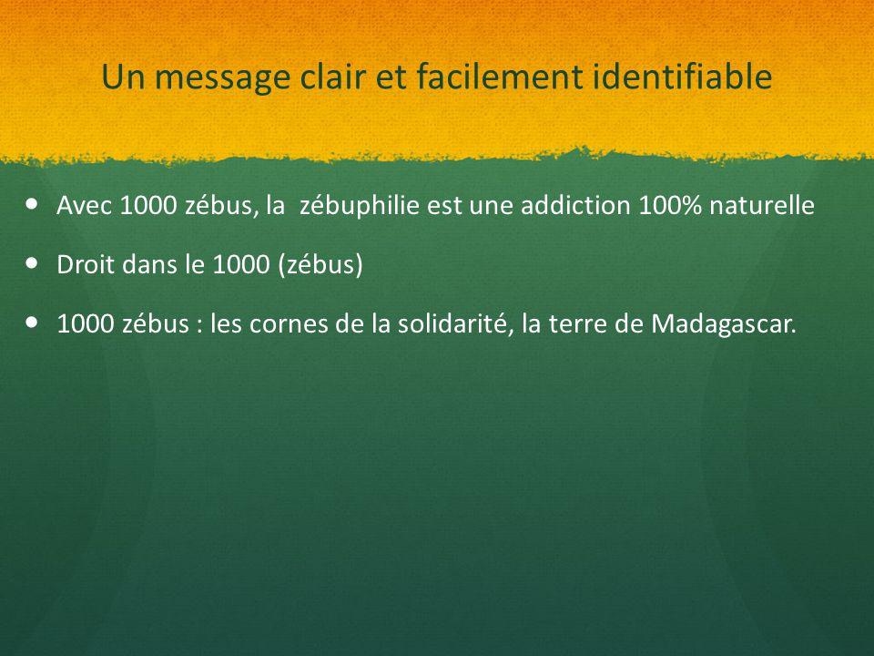 Un message clair et facilement identifiable Avec 1000 zébus, la zébuphilie est une addiction 100% naturelle Droit dans le 1000 (zébus) 1000 zébus : le