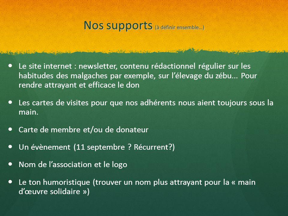 Nos supports (à définir ensemble…) Le site internet : newsletter, contenu rédactionnel régulier sur les habitudes des malgaches par exemple, sur l'éle