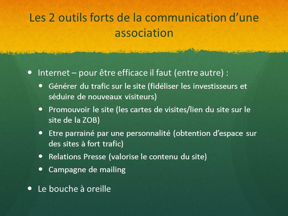 Les 2 outils forts de la communication d'une association Internet – pour être efficace il faut (entre autre) : Générer du trafic sur le site (fidélise