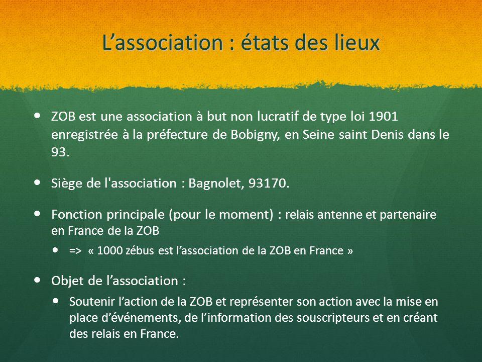 L'association : états des lieux ZOB est une association à but non lucratif de type loi 1901 enregistrée à la préfecture de Bobigny, en Seine saint Den