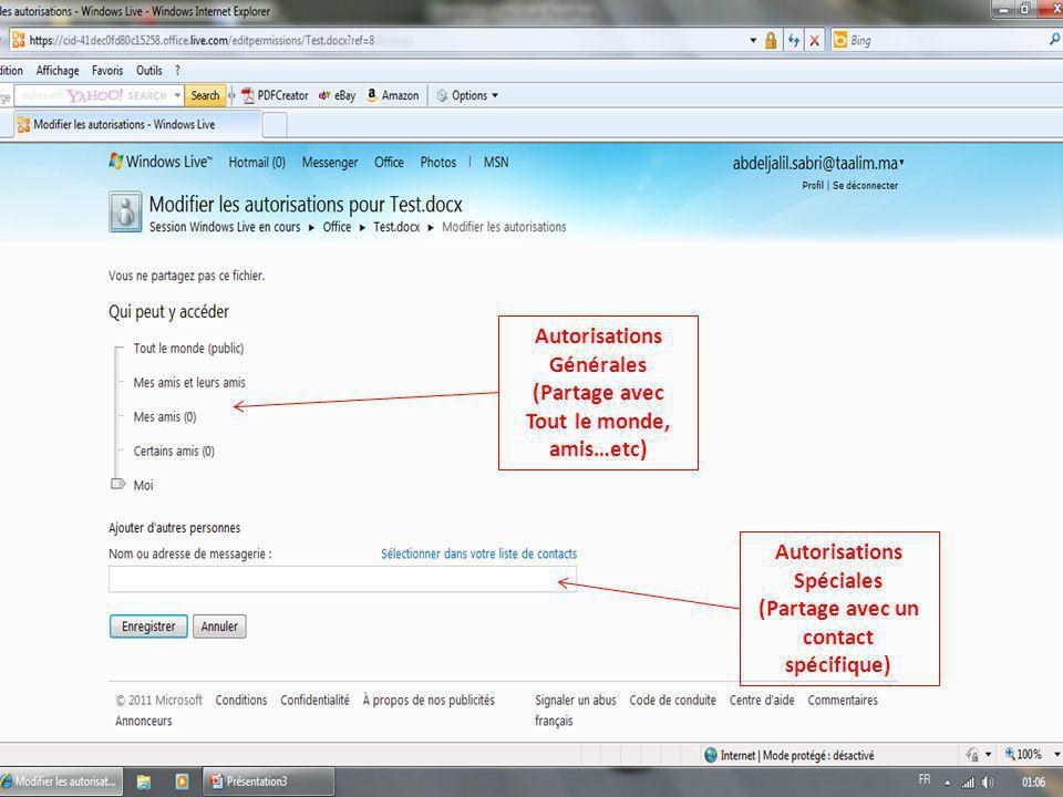 Autorisations Générales (Partage avec Tout le monde, amis…etc) Autorisations Spéciales (Partage avec un contact spécifique)