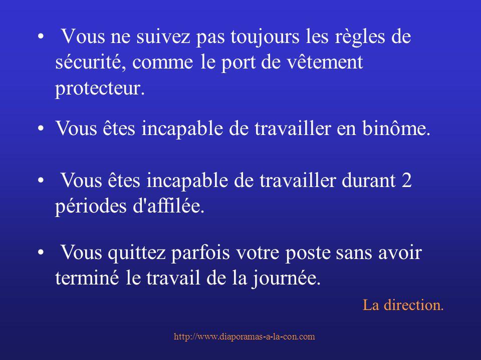 http://www.diaporamas-a-la-con.com Vous ne suivez pas toujours les règles de sécurité, comme le port de vêtement protecteur. Vous êtes incapable de tr