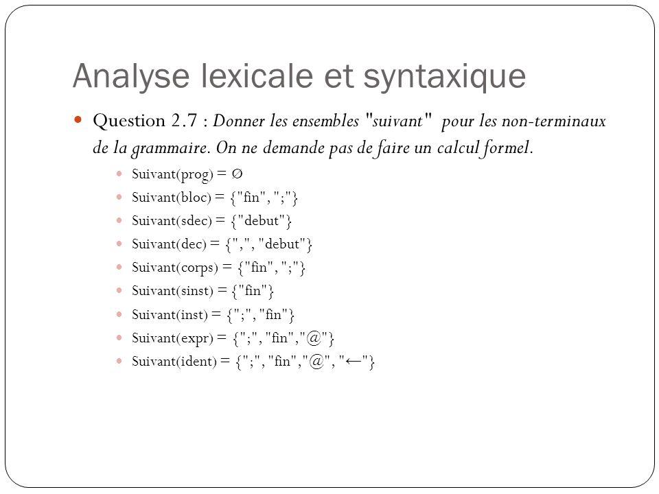 Analyse lexicale et syntaxique Question 2.7 : Donner les ensembles