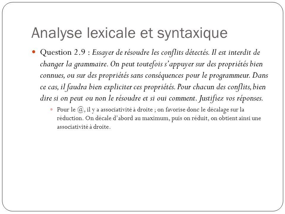 Analyse lexicale et syntaxique Question 2.9 : Essayer de résoudre les conflits détectés. Il est interdit de changer la grammaire. On peut toutefois s'