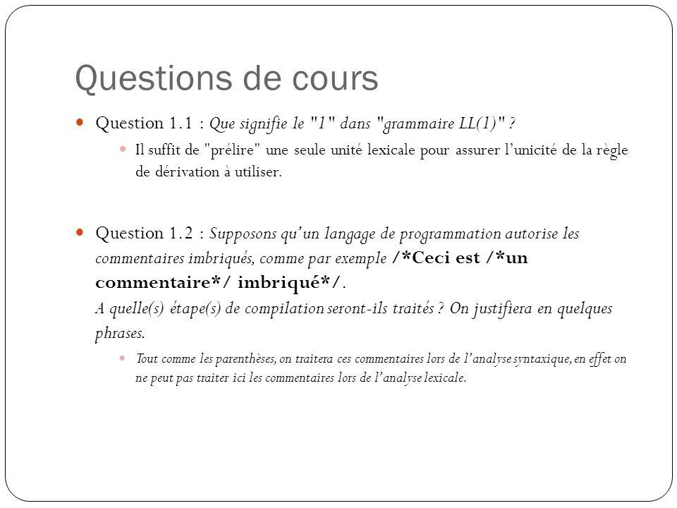 Questions de cours Question 1.1 : Que signifie le 1 dans grammaire LL(1) .