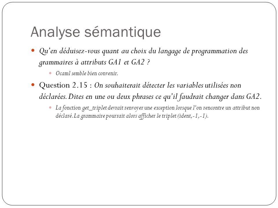 Analyse sémantique Qu'en déduisez-vous quant au choix du langage de programmation des grammaires à attributs GA1 et GA2 ? Ocaml semble bien convenir.