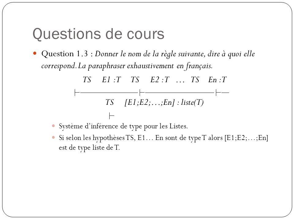 Questions de cours Question 1.3 : Donner le nom de la règle suivante, dire à quoi elle correspond. La paraphraser exhaustivement en français. TS E1 :