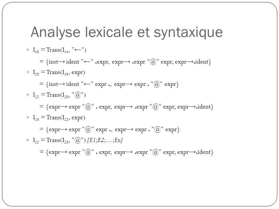Analyse lexicale et syntaxique Question 2.7 : Donner les ensembles suivant pour les non-terminaux de la grammaire.