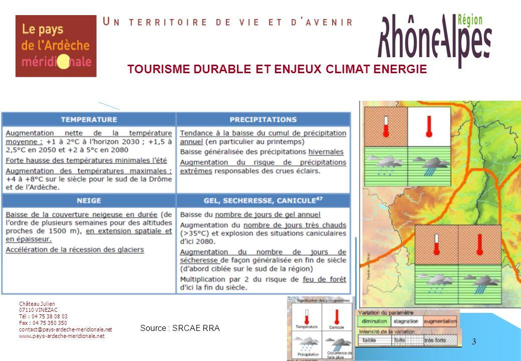 3 TOURISME DURABLE ET ENJEUX CLIMAT ENERGIE Château Julien 07110 VINEZAC Tél : 04 75 38 08 03 Fax : 04 75 350 350 contact@pays-ardeche-meridionale.net www.pays-ardeche-meridionale.net Source : SRCAE RRA