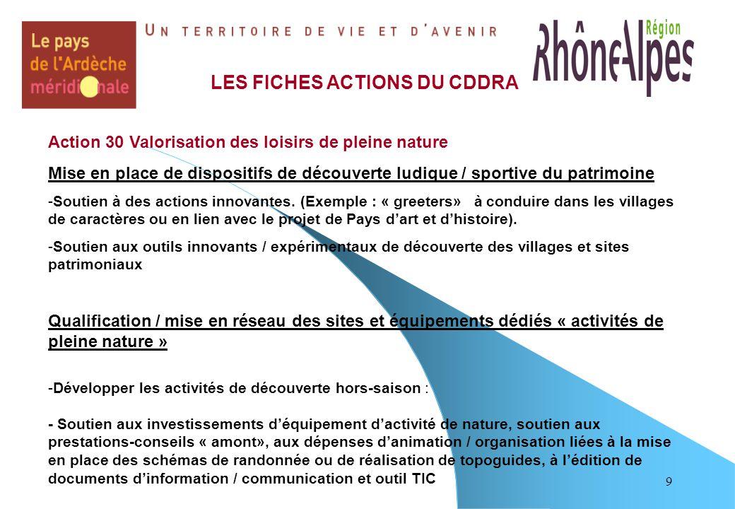 9 LES FICHES ACTIONS DU CDDRA Action 30 Valorisation des loisirs de pleine nature Mise en place de dispositifs de découverte ludique / sportive du patrimoine -Soutien à des actions innovantes.