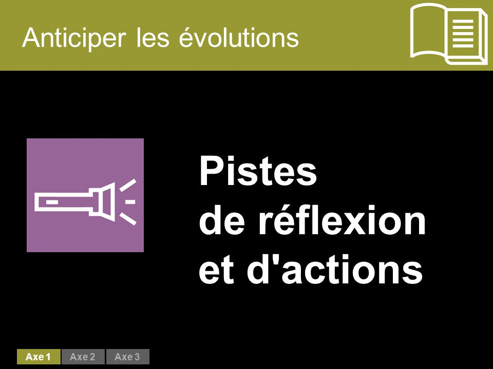 Anticiper les évolutions Pistes de réflexion et d actions Axe 1Axe 2Axe 3