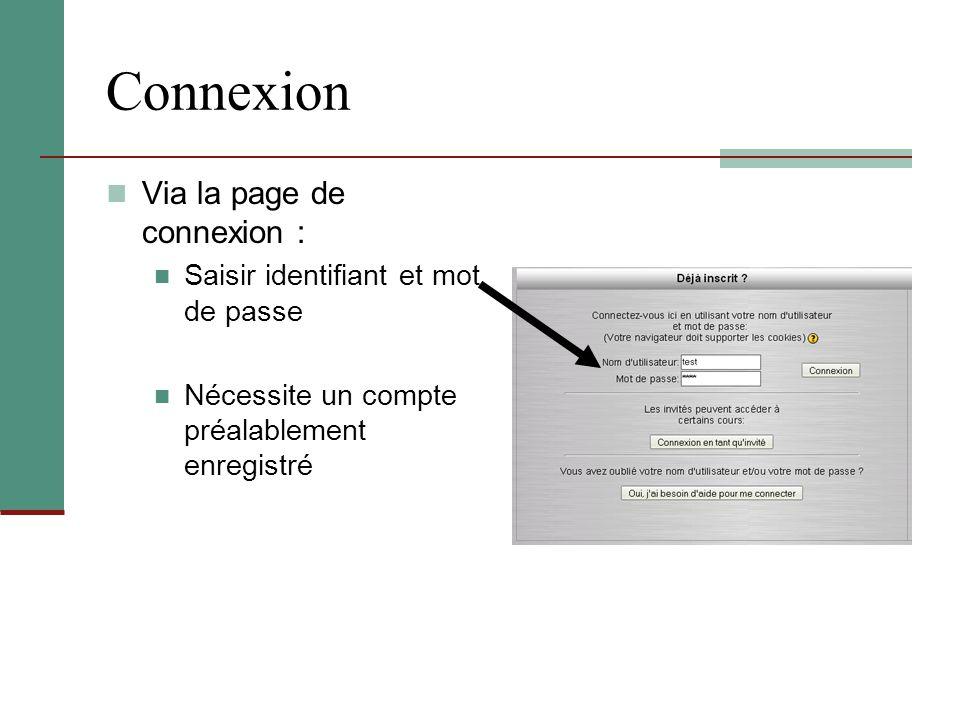 Connexion Via la page de connexion : Saisir identifiant et mot de passe Nécessite un compte préalablement enregistré