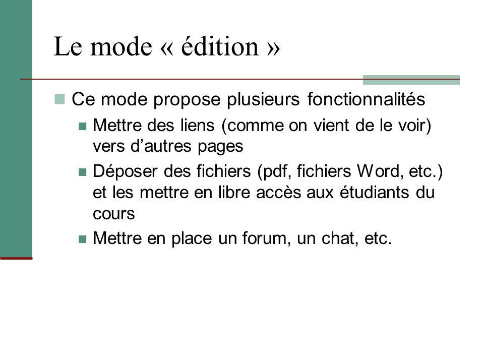 Le mode « édition » Ce mode propose plusieurs fonctionnalités Mettre des liens (comme on vient de le voir) vers d'autres pages Déposer des fichiers (p