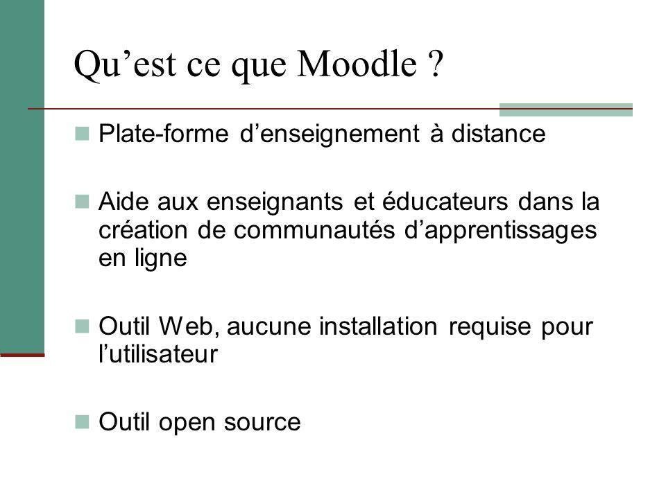 Qu'est ce que Moodle ? Plate-forme d'enseignement à distance Aide aux enseignants et éducateurs dans la création de communautés d'apprentissages en li