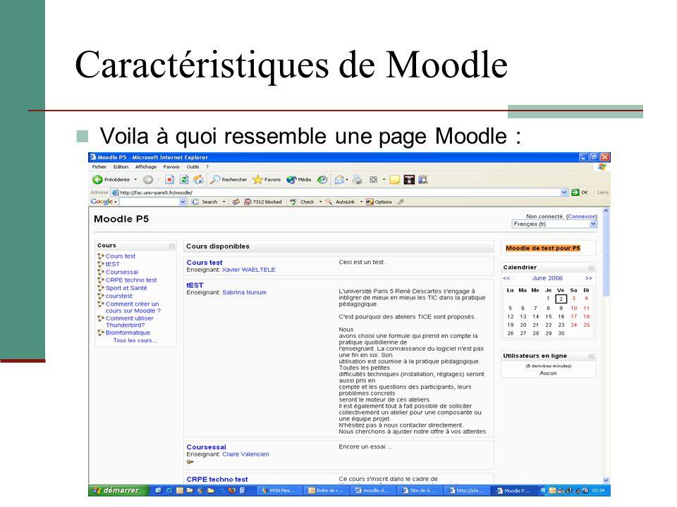 Caractéristiques de Moodle Voila à quoi ressemble une page Moodle :