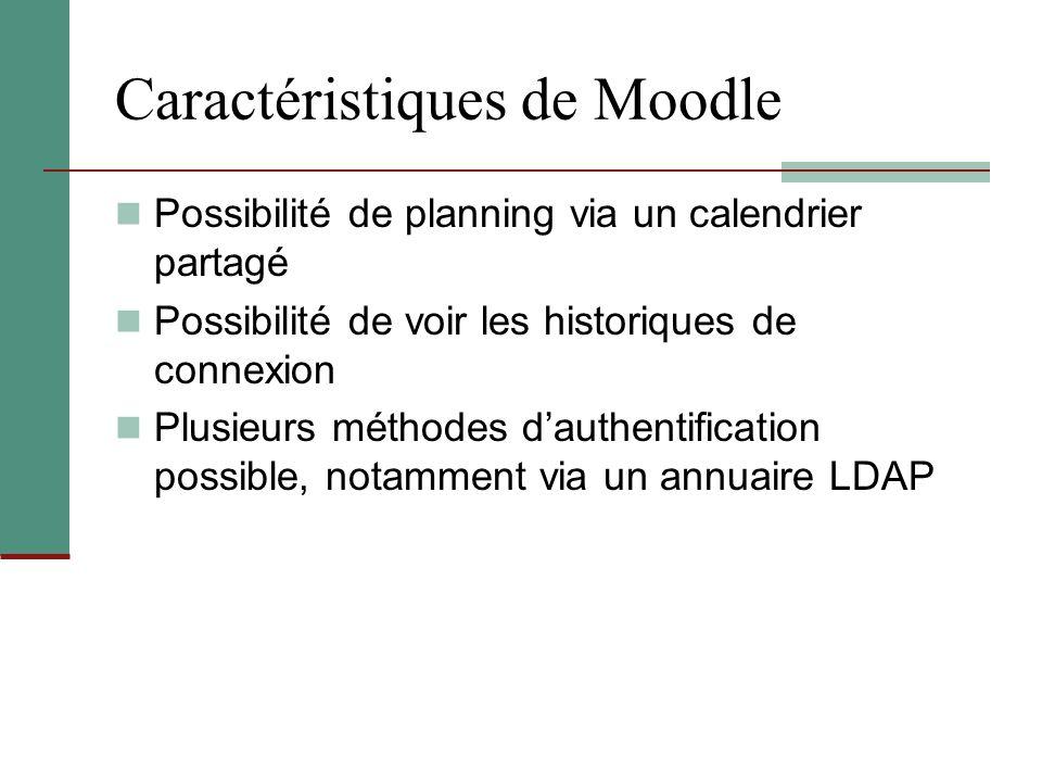Caractéristiques de Moodle Possibilité de planning via un calendrier partagé Possibilité de voir les historiques de connexion Plusieurs méthodes d'aut