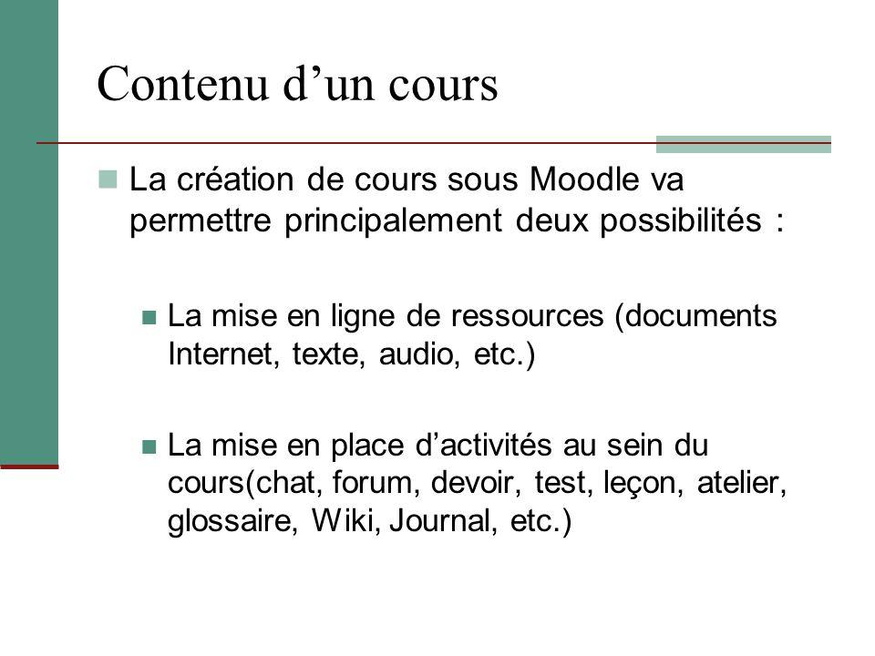Contenu d'un cours La création de cours sous Moodle va permettre principalement deux possibilités : La mise en ligne de ressources (documents Internet