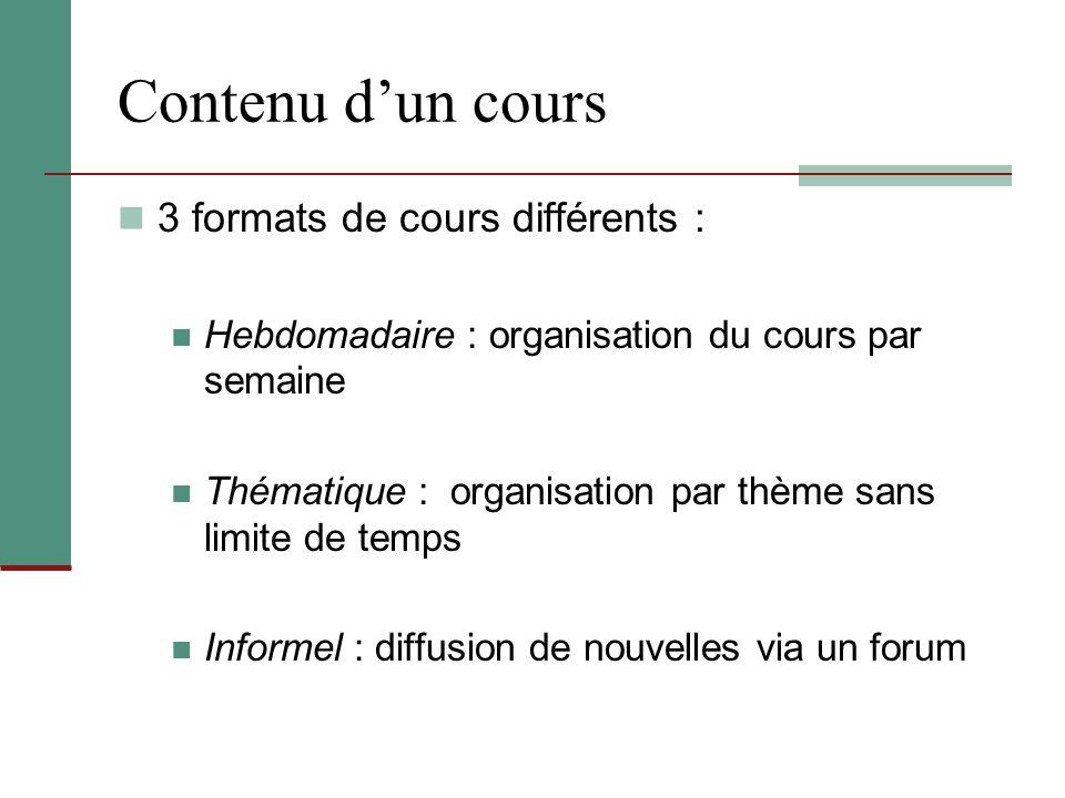 Contenu d'un cours 3 formats de cours différents : Hebdomadaire : organisation du cours par semaine Thématique : organisation par thème sans limite de
