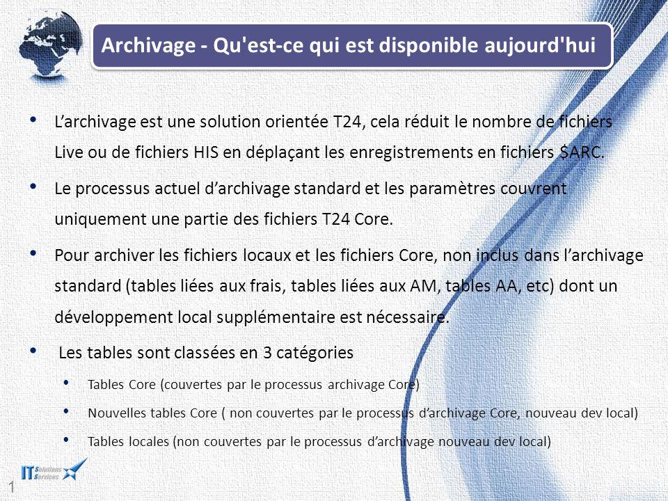 14 Archivage - Qu est-ce qui est disponible aujourd hui L'archivage est une solution orientée T24, cela réduit le nombre de fichiers Live ou de fichiers HIS en déplaçant les enregistrements en fichiers $ARC.