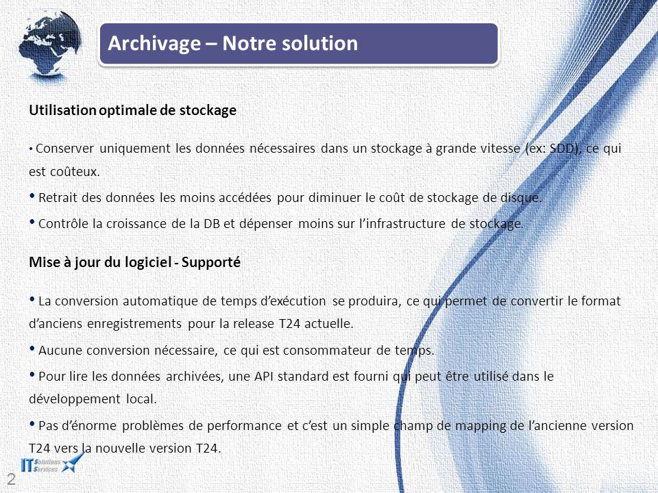 20 Archivage – Notre solution Utilisation optimale de stockage Conserver uniquement les données nécessaires dans un stockage à grande vitesse (ex: SDD), ce qui est coûteux.