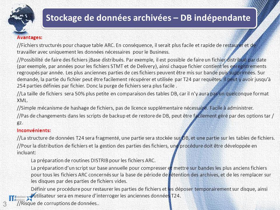 30 Avantages: //Fichiers structurés pour chaque table ARC.