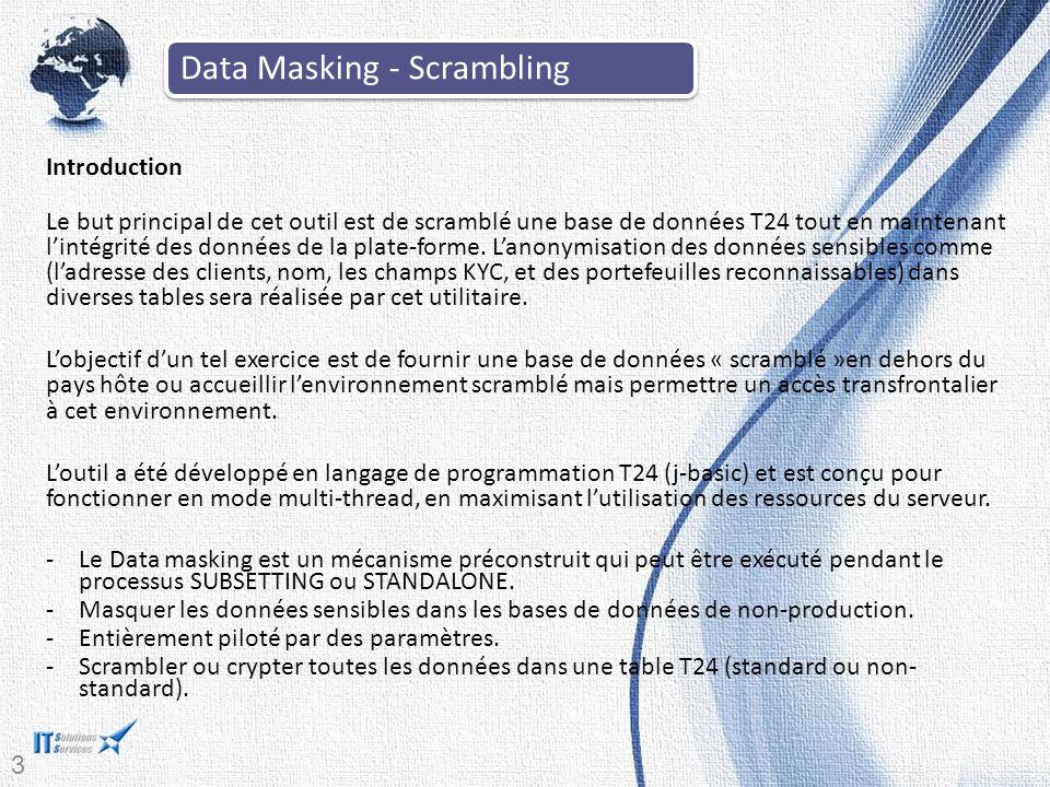 33 Introduction Le but principal de cet outil est de scramblé une base de données T24 tout en maintenant l'intégrité des données de la plate-forme. L'