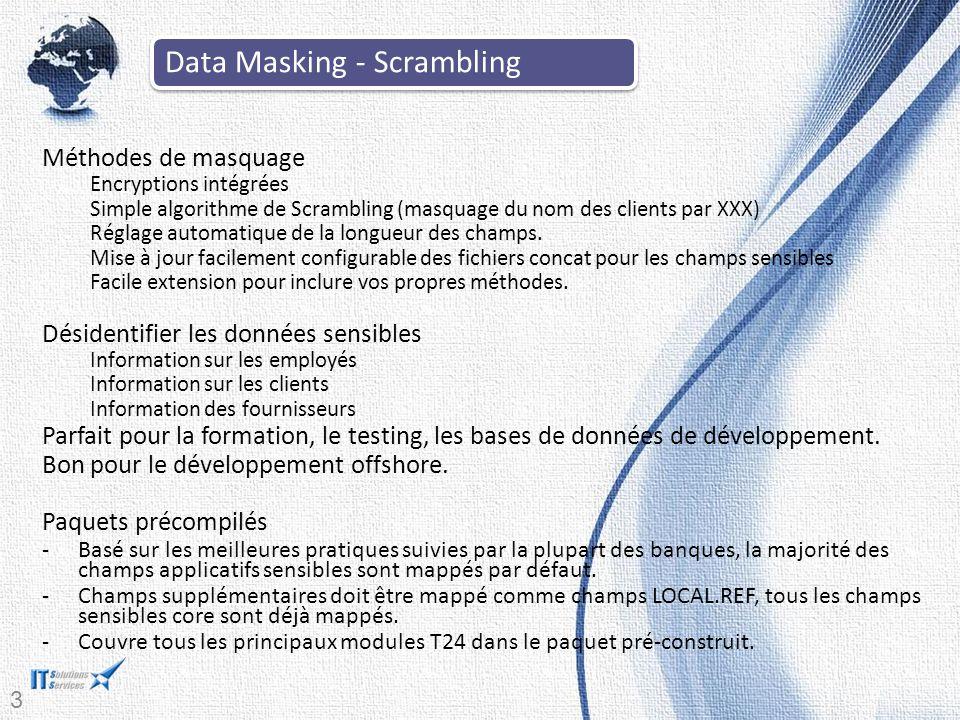 34 Méthodes de masquage Encryptions intégrées Simple algorithme de Scrambling (masquage du nom des clients par XXX) Réglage automatique de la longueur des champs.