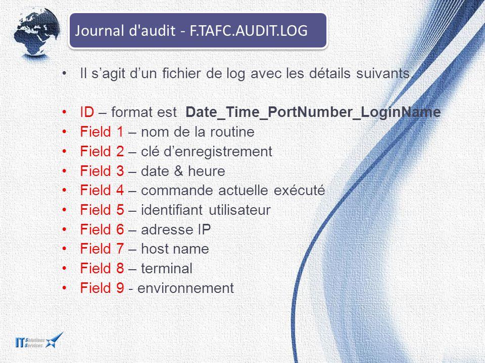 Il s'agit d'un fichier de log avec les détails suivants. ID – format est Date_Time_PortNumber_LoginName Field 1 – nom de la routine Field 2 – clé d'en