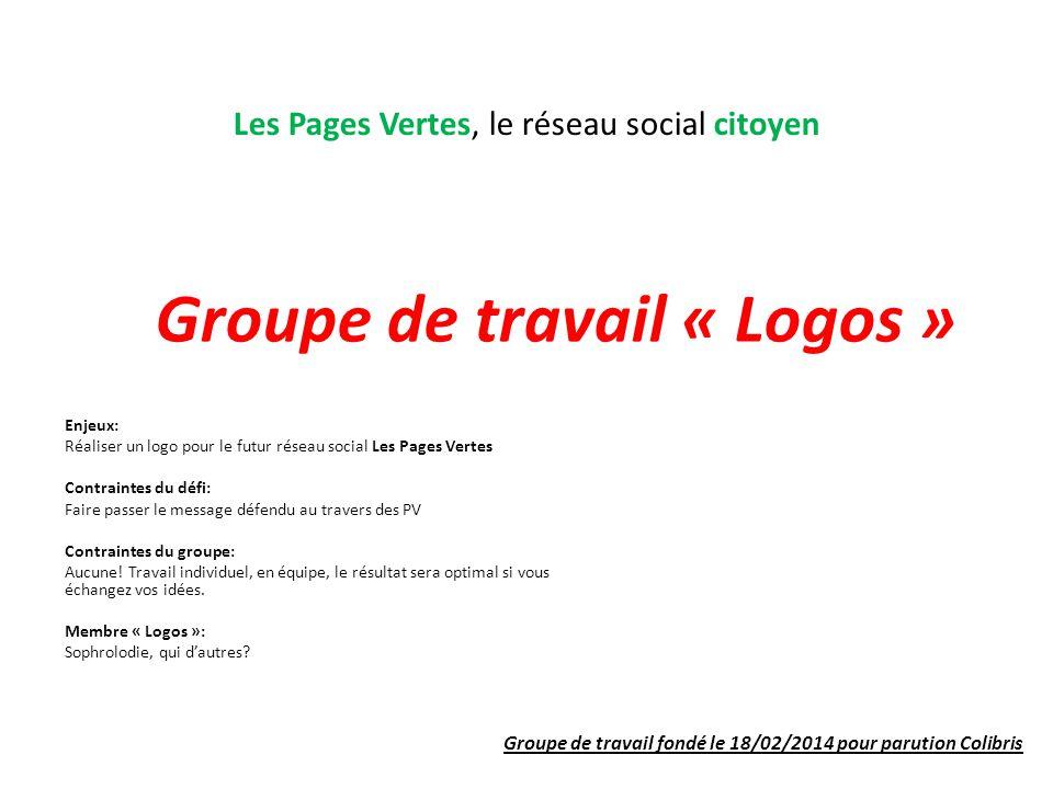 Les Pages Vertes, le réseau social citoyen Groupe de travail « Logos » Enjeux: Réaliser un logo pour le futur réseau social Les Pages Vertes Contraintes du défi: Faire passer le message défendu au travers des PV Contraintes du groupe: Aucune.