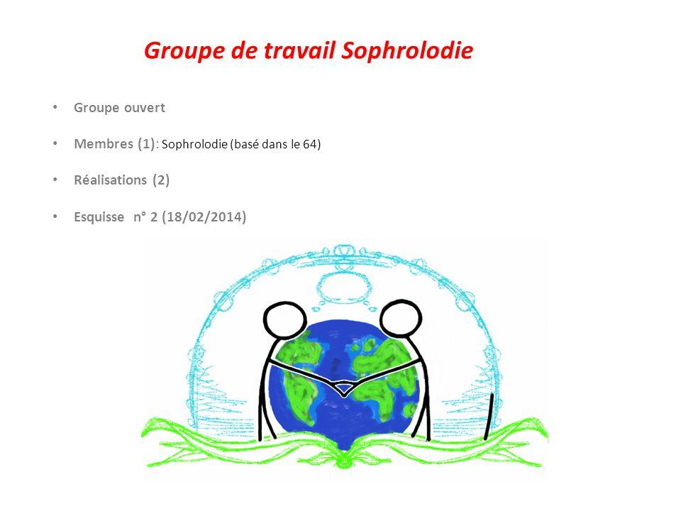 Groupe de travail Sophrolodie Groupe ouvert Membres (1): Sophrolodie (basé dans le 64) Réalisations (2) Esquisse n° 1 et 2 (18/02/2014) Collaboration avec les Pages Vertes Les avis positifs: - Excellent travail.