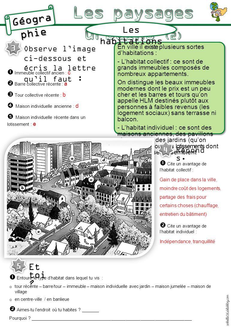 Les habitations En ville il existe plusieurs sortes d'habitations : - L'habitat collectif : ce sont de grands immeubles composés de nombreux apparteme