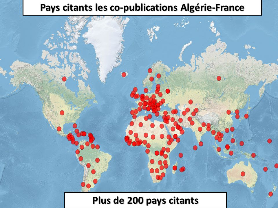 Pays citants les co-publications Algérie-France Plus de 200 pays citants