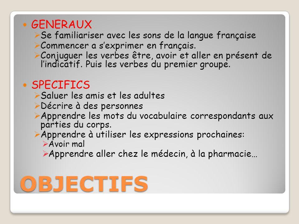 OBJECTIFS GENERAUX  Se familiariser avec les sons de la langue française  Commencer a s'exprimer en français.
