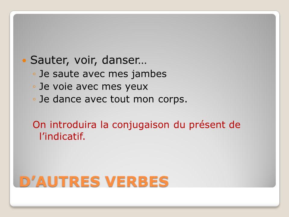 D'AUTRES VERBES Sauter, voir, danser… ◦Je saute avec mes jambes ◦Je voie avec mes yeux ◦Je dance avec tout mon corps.
