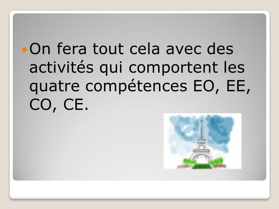 On fera tout cela avec des activités qui comportent les quatre compétences EO, EE, CO, CE.