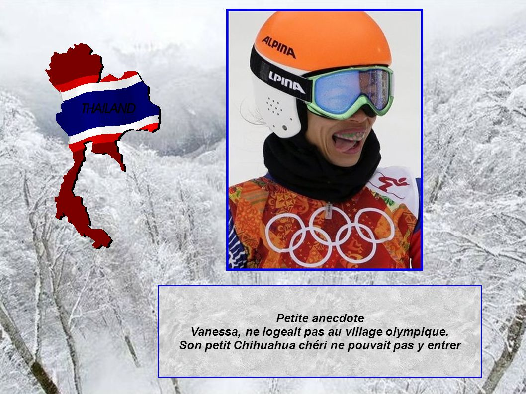 Petite anecdote Vanessa, ne logeait pas au village olympique.