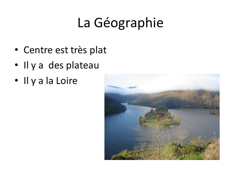 La Géographie Centre est très plat Il y a des plateau Il y a la Loire