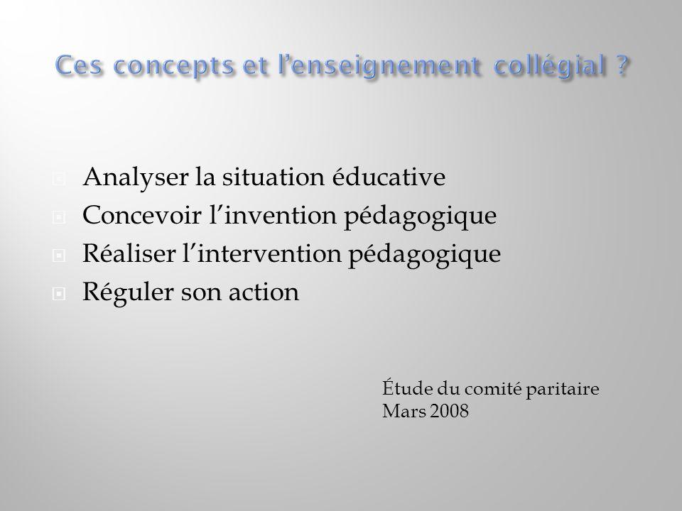  Analyser la situation éducative  Concevoir l'invention pédagogique  Réaliser l'intervention pédagogique  Réguler son action Étude du comité parit