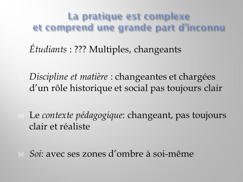  Étudiants : ??? Multiples, changeants  Discipline et matière : changeantes et chargées d'un rôle historique et social pas toujours clair  Le conte