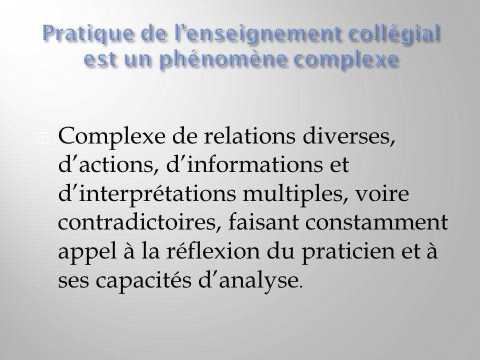  Complexe de relations diverses, d'actions, d'informations et d'interprétations multiples, voire contradictoires, faisant constamment appel à la réfl