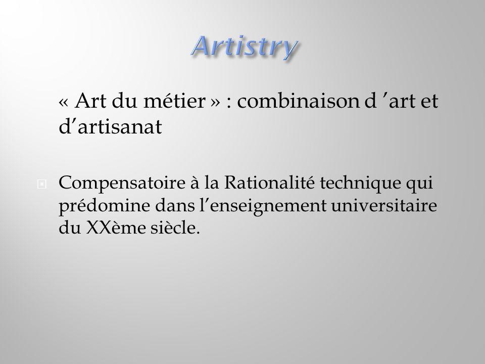 « Art du métier » : combinaison d 'art et d'artisanat  Compensatoire à la Rationalité technique qui prédomine dans l'enseignement universitaire du XX