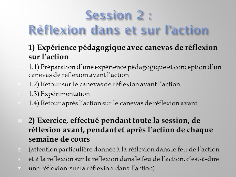  1) Expérience pédagogique avec canevas de réflexion sur l'action  1.1) Préparation d'une expérience pédagogique et conception d'un canevas de réfle