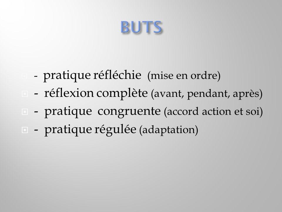  - pratique réfléchie (mise en ordre)  - réflexion complète (avant, pendant, après)  - pratique congruente (accord action et soi)  - pratique régu