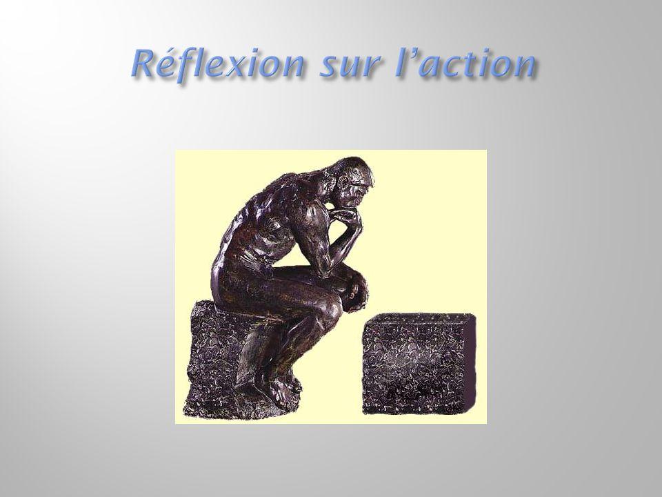  1) Expérience pédagogique avec canevas de réflexion sur l'action  1.1) Préparation d'une expérience pédagogique et conception d'un canevas de réflexion avant l'action  1.2) Retour sur le canevas de réflexion avant l'action  1.3) Expérimentation  1.4) Retour après l'action sur le canevas de réflexion avant  2) Exercice, effectué pendant toute la session, de réflexion avant, pendant et après l'action de chaque semaine de cours  (attention particulière donnée à la réflexion dans le feu de l'action  et à la réflexion sur la réflexion dans le feu de l'action, c'est-à-dire  une réflexion-sur la réflexion-dans-l'action)