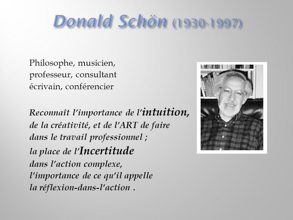 « Réflexion-avant-l'action, réflexion-pendant-l'action, réflexion-sur-la-réflexion-pendant-action - affaire intellectuelle qui requiert la verbalisation et la symbolisation.
